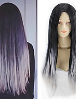 Women Granny Grey Cosplay Long Straight Synthetic Hair Wig
