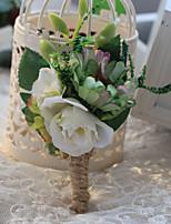Bouquets de Noiva Forma-Livre Peônias Alfinetes de Lapela Casamento / Festa / noite Verde Poliéster / Cetim