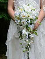 Bouquet sposa Forma libera / Cascata Rose Bouquet Matrimonio / Partito / sera Panna Raso / Seta
