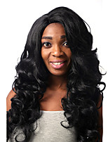 Capless Black Color Long High Quality Natural Curly Synthetic Wig