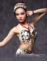 Belly Dance Tops Women's Performance Tribal style  Beading / Coins / Flower(s) 1 Piece White
