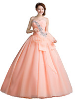 Formal Evening Dress-Orange Ball Gown Strapless Floor-length Organza / Stretch Satin