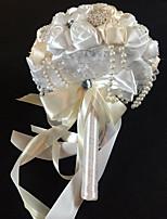 Bouquets de Noiva Redondo Rosas Buquês Casamento Branco / Beje / Roxo Cetim / Seda / Enfeite / Strass 9.06