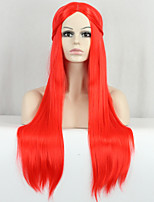 New Cosplay Long Dark Red Straight Top Quality Synthetic Wig
