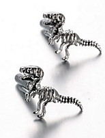 Men's Fashion Dinosaur Style Silver Alloy French Shirt Cufflinks (1-Pair)