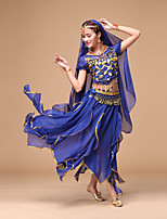 Belly Dance Outfits Women's Performance Chiffon Sequins 4 Pieces Dance Costumes
