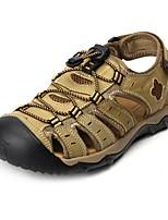 Zapatos de Hombre-Sandalias-Exterior / Vestido / Casual / Deporte-Cuero de Napa-Marrón / Caqui