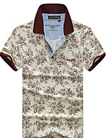 Men's Short Sleeve ,Cotton Casual / Work / Formal / Sport / Plus Sizes Print
