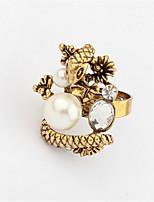 Retro Fashion Snake Hold Beads Metal Ring