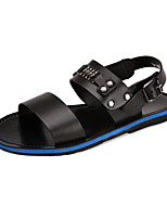 Sapatos Masculinos-Sandálias-Preto / Branco-Couro-Casual