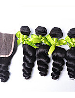 4 Haarbündel rosa Haarpflegeprodukte mit Verschluss brasilianisches reines Haar der losen Welle mit 4 * 4lace Schließung insgesamt 5pcs /