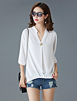 Women's Solid Pink / White / Black / Orange Blouse,V Neck ¾ Sleeve