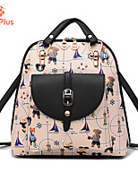 M.Plus® Women's Fashion Korean Print PU Leather Backpack