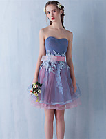 Cocktail Party Dress Ball Gown Strapless Short / Mini Lace / Tulle with Lace