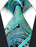 Men's 100% Silk  Tie Paisley Green Business Necktie