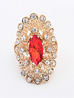 Red Stone Rhinestone Ring Rose Gold Plated Crystal Fashion Imitation Gemstone Anniversary Jewelry For Women