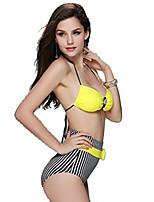 Venus queen Women's Halter Bikini,Retro Nylon / Spandex Yellow