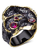 New Design Banquet party Evening cocktail Black Gold Plated Red Cubic Zirconia Lead Free Luxury ring for women