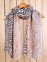 Super Long Voile Pink Leopard Chain Scarf Shawl