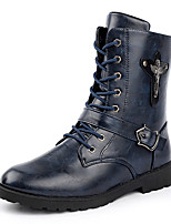 Men's Casual Leather Boots Tie Martin Boots Black / Blue