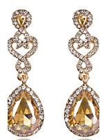 Luxury Drops Shape Cubic Zrconia Crystal Drop Earrings Jewelry for Lady(5.7*1.7cm)