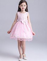 Girl's Pink / White Dress,Floral Cotton / Polyester Summer