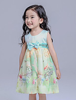 Girl's Blue Dress,Floral Cotton Summer