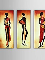 Hand-Painted Portrait Of African Women Oil Painting on Canvas 3pcs/set Wall Art Whit Frame
