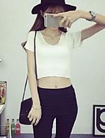 Women's Solid White / Black Pullover,Street chic Short Sleeve