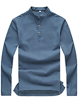 Men's Long Sleeve Polo,Linen Casual / Plus Sizes Solid