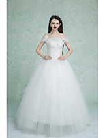 Ball Gown Wedding Dress-White Floor-length Off-the-shoulder Lace