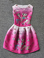 Girl's Pink Dress,Print Polyester Summer