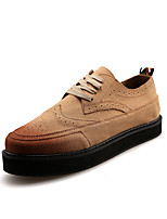 British Style Men's Brogue Cowhide Leather Shoes Platform Height Increasing Shoes