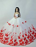 Poupée Barbie-Rouge / Blanc-Soirée & Cérémonie-Robes- enOrganza / Dentelle
