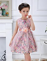Girl's Floral Dress,Rayon Summer Pink