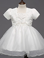 A-line Knee-length Flower Girl Dress - Satin / Tulle Short Sleeve Square with