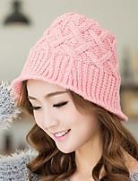Women Leisure Warm Sweet College Wind Retro Twist Crimping Wool Knitted Bucket Hats