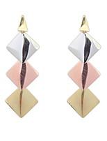 New Fashion Elegant Gold Silver Plated Long Tassel Drop Earrings Geometry Square Earrings Jewelry