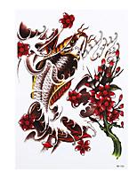 8PCS DIY Temporary Tattoo Sticker for Women Men Gold Fish Flower Picture Design Waterproof Body Art Tattoo