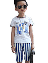 Boy's Casual Round Collar Stripe Short Sleeve Cotton Clothing Sets(T-shirt & Stripe Shorts)