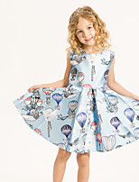 Girl's Casual/Daily Print Dress,Cotton / Polyester Summer / Spring Blue
