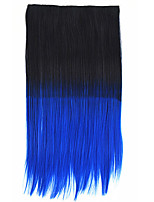 26 Inch Clip in Synthetic Black Bule Color Straight Hair Extensions with 5 Clips