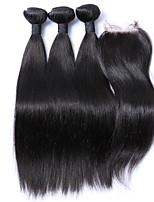 4pcs / lot cabelo virgem brasileiro em linha reta com o fechamento 3 feixes trama do cabelo humano com fecho não transformados tecer fio
