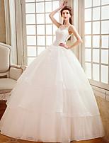 A-라인 웨딩 드레스 바닥 길이 스트랩 튤 와 아플리케 / 비즈 / 크리스탈 / 진주