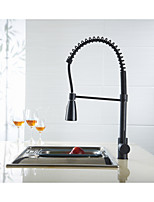 Brass Singel Lever High Arc Pull Down Kitchen Faucet with Retractable Pull Out Wand, Swivel Spout, Oil Rubbed Bronze