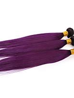 3 Stück ombre lila gerade reine Menschenhaar spinnt zwei Töne brasilianische Menschenhaarverlängerungen gerade
