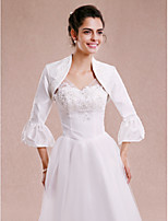 Women's Wrap Shrugs 3/4-Length Sleeve Taffeta White Wedding / Party/Evening Beading