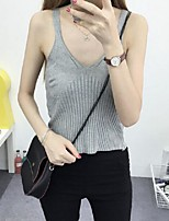 Women's Solid Red / White / Beige / Black / Gray Vest,Street chic Sleeveless