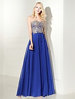 Formal Evening Dress A-line Sweetheart Floor-length Chiffon with Appliques / Beading / Lace