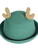 Women Candy Color Belt Buckle Curling Antlers Dome Wool Hat